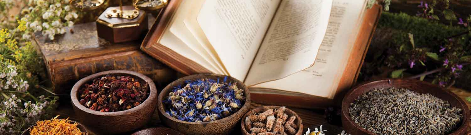 open Naturopathic medicinal book in amongst bowls of medicinal herbs